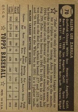 1952 Topps #70A Al Zarilla Black back image