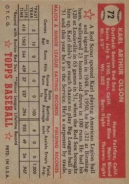 1952 Topps #72 Karl Olson RC back image