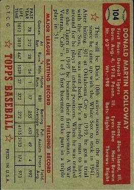 1952 Topps #104 Don Kolloway back image