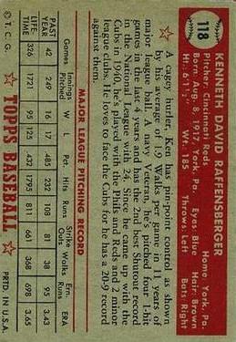 1952 Topps #118 Ken Raffensberger back image