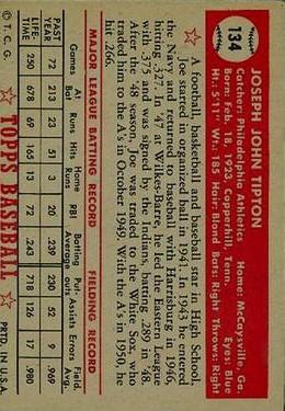 1952 Topps #134 Joe Tipton back image
