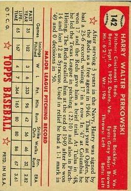 1952 Topps #142 Harry Perkowski RC back image