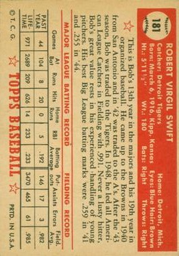 1952 Topps #181 Bob Swift back image
