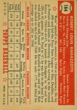 1952 Topps #184 Bob Ramazzotti back image