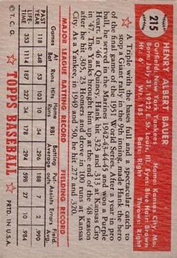 1952 Topps #215 Hank Bauer back image