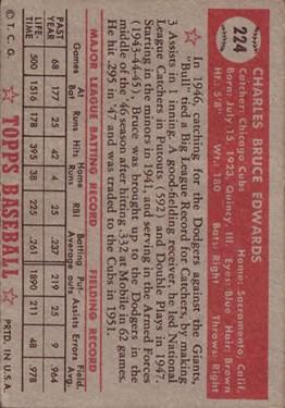 1952 Topps #224 Bruce Edwards back image