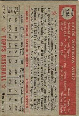 1952 Topps #244 Vic Wertz back image