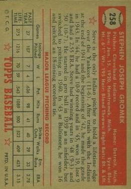 1952 Topps #258 Steve Gromek back image