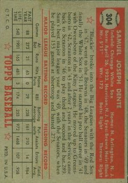 1952 Topps #304 Sam Dente back image