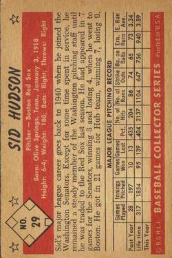1953 Bowman Black and White #29 Sid Hudson back image