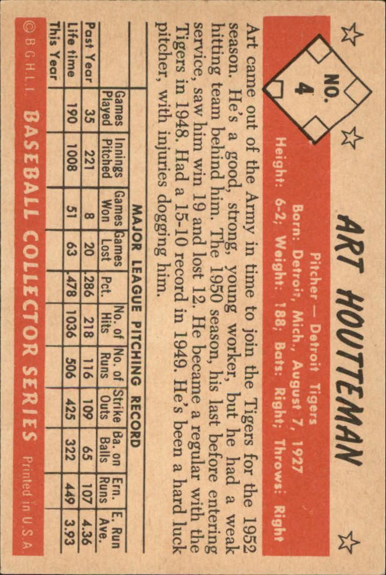 1953 Bowman Color #4 Art Houtteman back image