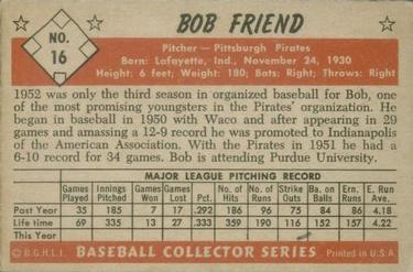 1953 Bowman Color #16 Bob Friend back image