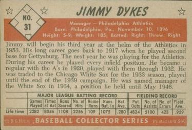 1953 Bowman Color #31 Jimmy Dykes MG back image