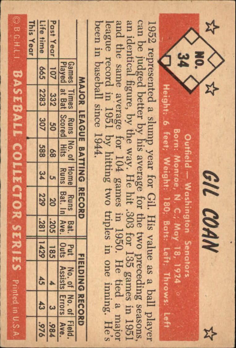 1953 Bowman Color #34 Gil Coan back image