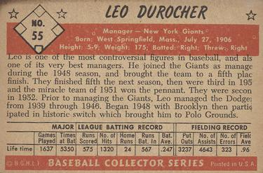 1953 Bowman Color #55 Leo Durocher MG back image