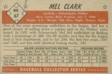 1953 Bowman Color #67 Mel Clark RC back image