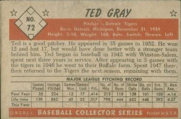 1953 Bowman Color #72 Ted Gray back image
