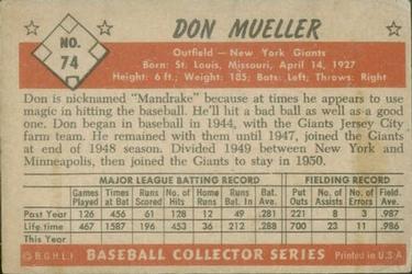 1953 Bowman Color #74 Don Mueller back image