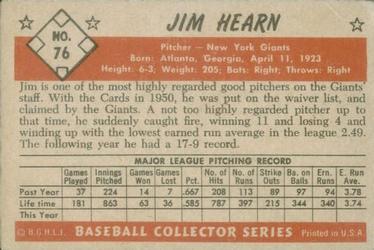 1953 Bowman Color #76 Jim Hearn back image