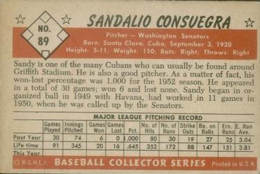 1953 Bowman Color #89 Sandy Consuegra back image