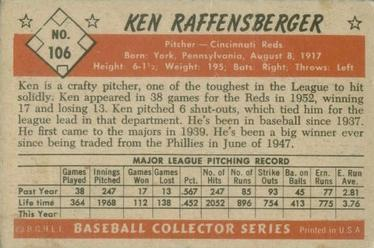 1953 Bowman Color #106 Ken Raffensberger back image