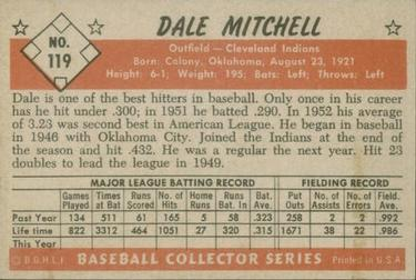 1953 Bowman Color #119 Dale Mitchell back image