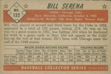 1953 Bowman Color #122 Bill Serena back image