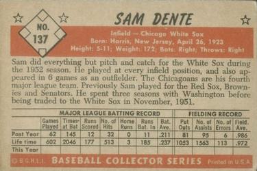 1953 Bowman Color #137 Sam Dente back image