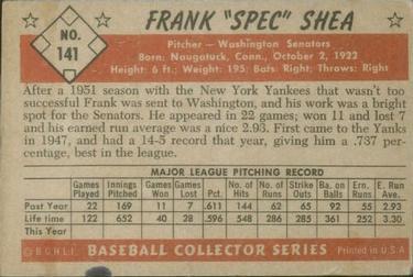 1953 Bowman Color #141 Frank Shea back image