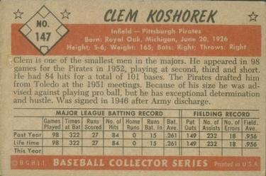 1953 Bowman Color #147 Clem Koshorek back image