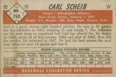1953 Bowman Color #150 Carl Scheib back image