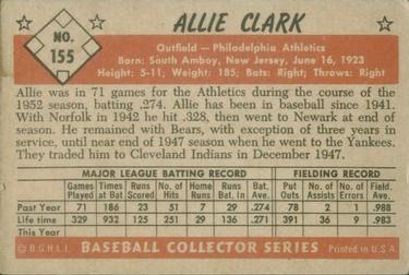 1953 Bowman Color #155 Allie Clark back image