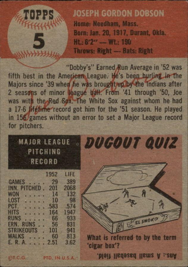 1953 Topps #5 Joe Dobson back image