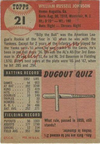 1953 Topps #21 Billy Johnson back image