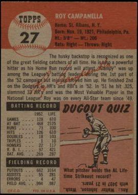 1953 Topps #27 Roy Campanella DP back image