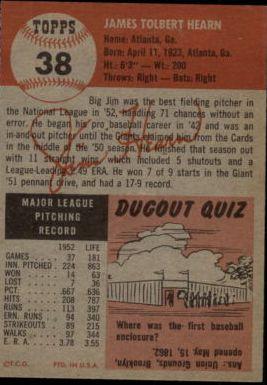 1953 Topps #38 Jim Hearn DP back image