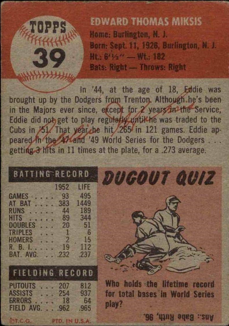 1953 Topps #39 Eddie Miksis back image