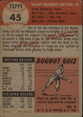 1953 Topps #45 Grady Hatton DP back image