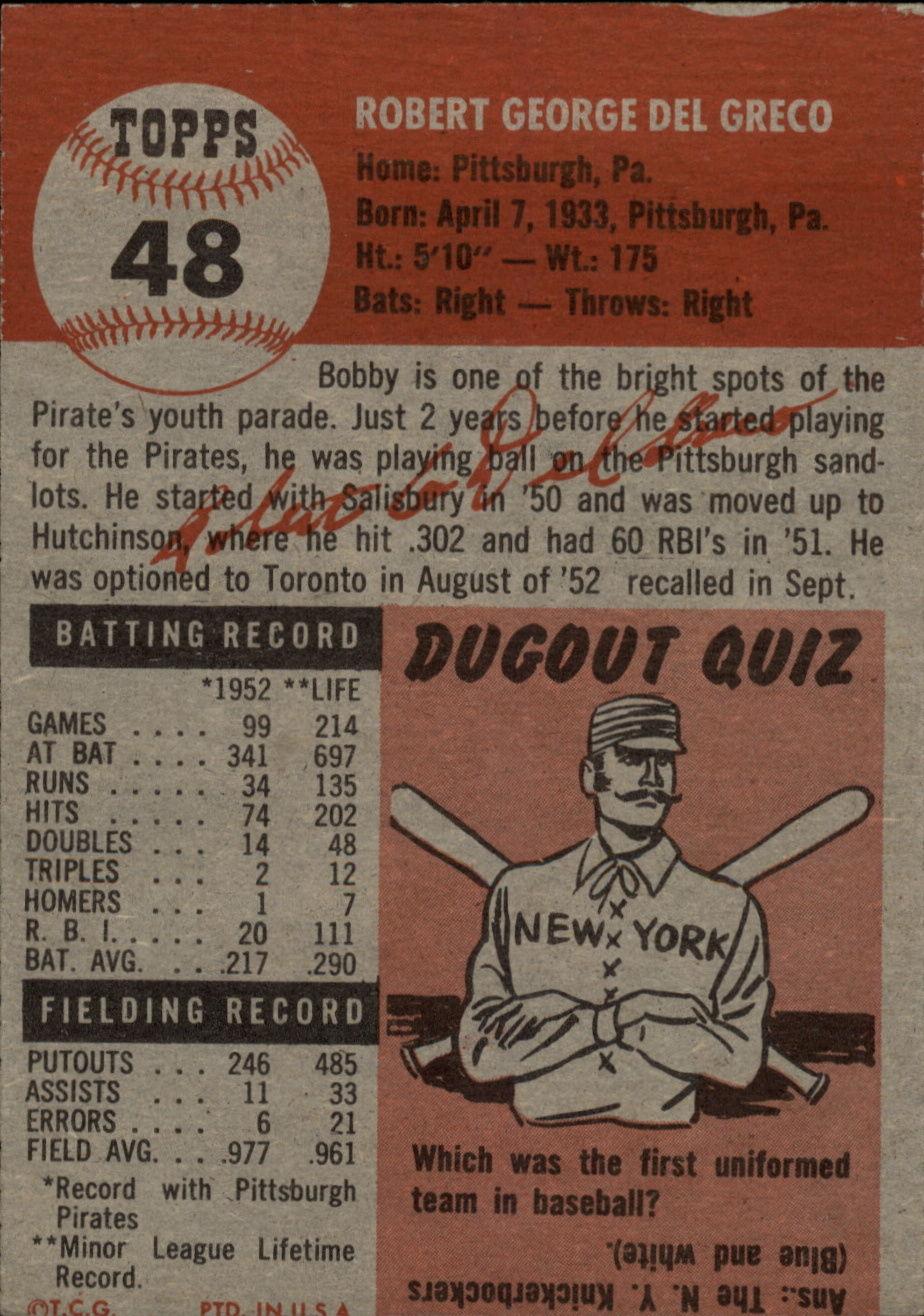 1953 Topps #48 Bob Del Greco DP back image