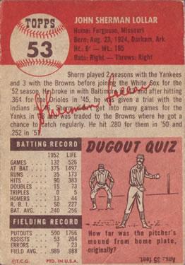 1953 Topps #53 Sherm Lollar DP back image