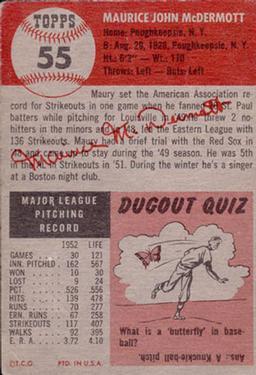 1953 Topps #55 Maurice McDermott DP back image