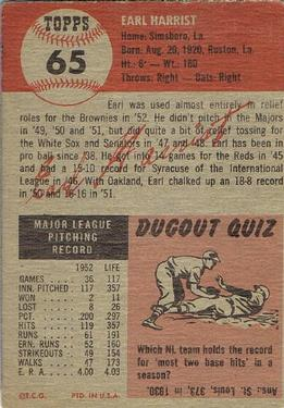 1953 Topps #65 Earl Harrist back image