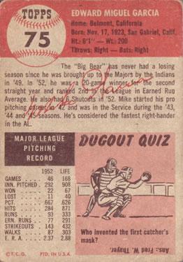 1953 Topps #75 Mike Garcia back image