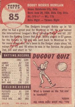 1953 Topps #85 Bobby Morgan DP back image