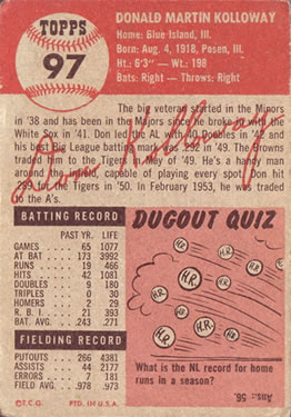 1953 Topps #97 Don Kolloway DP back image