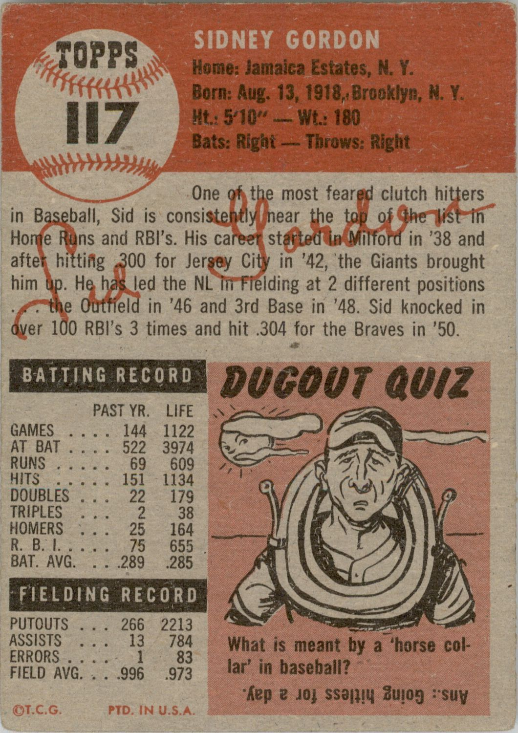 1953 Topps #117 Sid Gordon DP back image