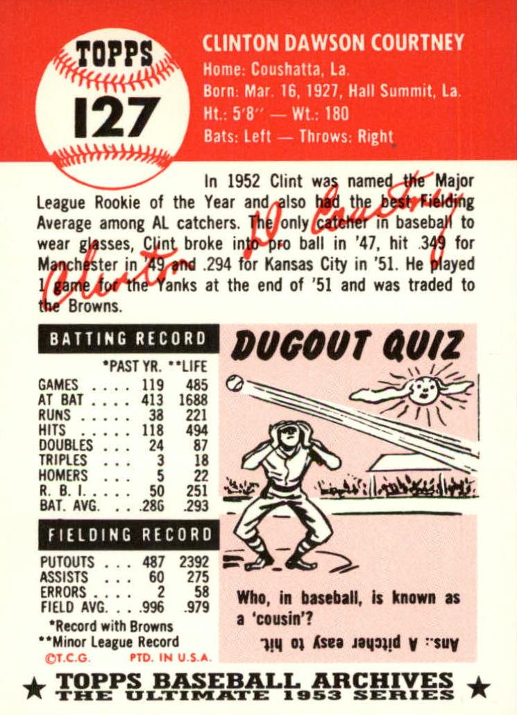 1953 Topps #127 Clint Courtney DP RC back image