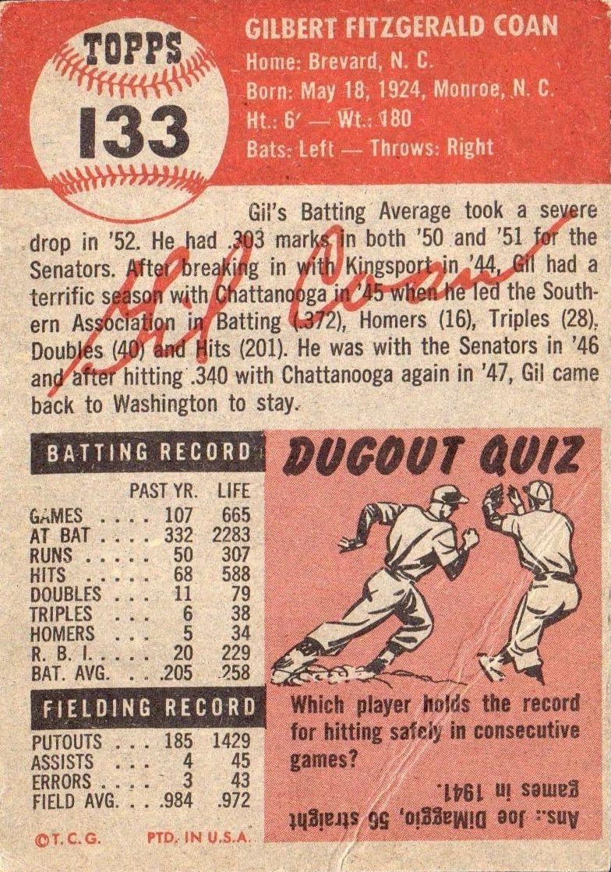 1953 Topps #133 Gil Coan back image