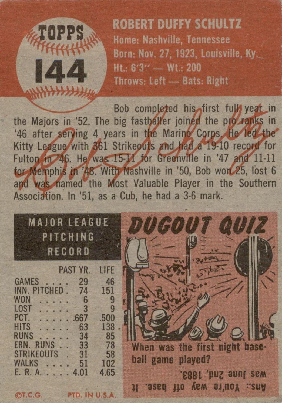 1953 Topps #144 Bob Schultz DP back image