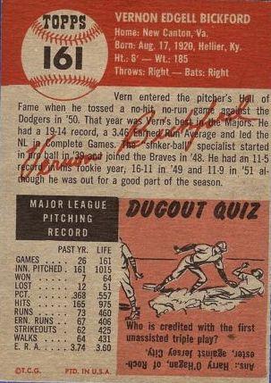 1953 Topps #161 Vern Bickford DP back image
